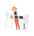 businesswoman watering flowers while working in vector image vector image