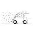 cartoon man driving car through swarm of vector image
