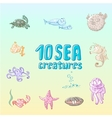 cartoon sea creatures vector image vector image