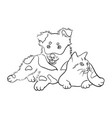 cat and dog line art 05 vector image vector image