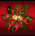 Christmas jingle bells with red ribbon vector image