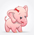 cute infant pink elephant character baby vector image vector image