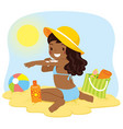dark skinned girl putting on sunscreen vector image vector image