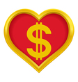 Dollar heart vector image vector image