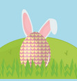 egg painted with rabbit ears easter icon vector image vector image