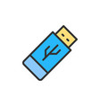 flash drive usb flat color line icon vector image vector image