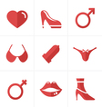 Flat icon Sex And XXX Icons Set Design vector image