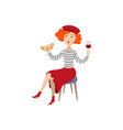 girl in beret with glass of wine croissant vector image vector image