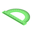 green protractor ruler isolated on white vector image vector image