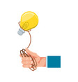 hand with light bulb and rope vector image vector image