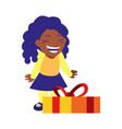 happy girl with gift box celebration vector image