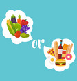 healthy or fast food diet nutrition fitness vector image