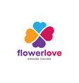heart color logo flower heart logo vector image vector image