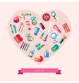 Heart of flat design cosmetics make vector image
