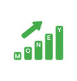 icon concept of money bar graph moving up vector image