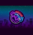 jazz club neon neon sign logo brilliant vector image