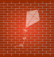 kite sign whitish icon on brick wall as vector image vector image