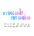 linear font alphabet with mesh effect letters and vector image vector image