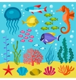 Marine life set of icons objects and sea animals vector image vector image