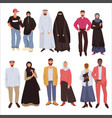 muslim fashion couples wearing traditional vector image