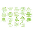 organic food calligraphic label collection vector image vector image