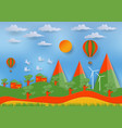 paper art style of landscape with save the world vector image