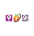 pin location fruit f template set vector image vector image