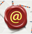 postal envelopes e-mail sign on the wax seal vector image vector image