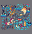 print with fantastic creatures vector image vector image