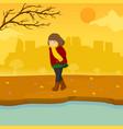 sad lonely girl autumn season scene graphic design vector image