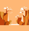 sakura and cliffs near river asian landscape view vector image