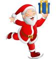 santa claus skier holding a gift box vector image vector image