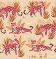 seamless pattern with cute pink jaguar vector image