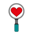 search heart flat vector image vector image