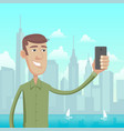 selfie in big city vector image vector image