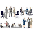 set business people in flat style vector image