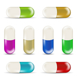 Set colorful pills isolated on white background 1 vector image vector image