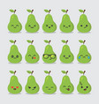 set of cute fruit smiley avocado emoticons image vector image