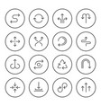 set round line icons of arrows vector image