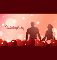 silhouette couple holding hands over valentines vector image