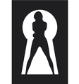 silhouette of a woman figure seen in a key hole vector image vector image