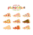 Stock of pizza slices vector image vector image
