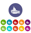 submarine old icons set color vector image vector image