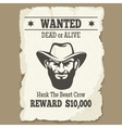 Wanted dead or alive western poster vector image