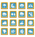 weater icons set sapphirine square vector image vector image