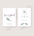 wedding invitation cards with leafs save date vector image vector image