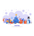 winter holidays horizontal banner - various vector image vector image