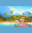 woman in bikini on beach over bungalow house sexy vector image vector image