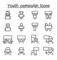 youth campaign related line icons contains such vector image vector image