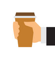 a hand holds a glass coffee icon flat style vector image